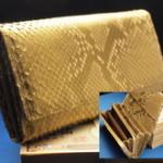 金の錦蛇革長財布