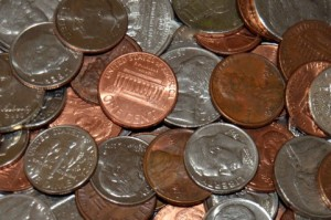 大量の小銭