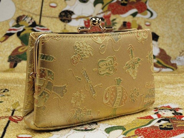 宝づくし文様のがま口財布